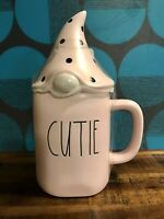 """New RAE DUNN Valentines Day LL """"CUTIE"""" Pink Mug With Gnome Topper By Magenta"""