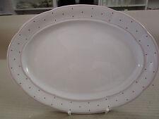 555#  SERVIERPLATTE PLATTE Form Marienbad Ingres weiß rosa Raute 30 x 23,5  cm