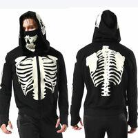Men's Skull Full Face Pullover Skeleton Hoodies Zipper Sweatshirt Halloween Coat
