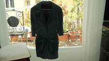 ITALIAN SUEDE LEATHER GREEN JUMPSUIT ROMPER GOLD ZIPPERS*SIZE M