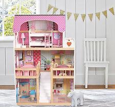 En Bois Enfants Maison de poupées avec 17PCS meubles & escalier Barbie Dollhouse