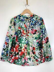 Talbots Medium Tropical Floral Long Sleeve Lightweight Half Button Up Blouse