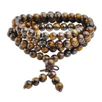 6mm Tiger's Eye Gemstone Beads Stone Multi-layer Buddha Bracelet Necklace Mala
