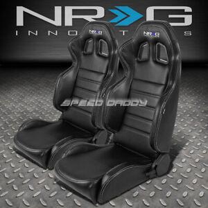 NRG FULLY ADJUSTABLE PVC LEATHER WHITE STITCHES BUCKET RACING SEATS+MOUNT SLIDER