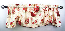"""Norfolk Rose Waverly Rod Pocket Valence Scallop 52""""  Floral Corded Piping Cotton"""