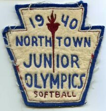 "Rare 1940 Northtown Junior Olympics Softball 5 1/4 x 5 1/4"" Patch"