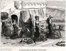 Le Fienarole: Contadine Raccoglitrici di Fieno.Stampa Antica + Passepartout.1856