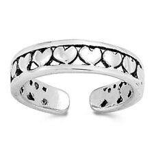 mm Solid Sterling Silver 925 Usa Seller Heart Design Toe Ring Face Height 4