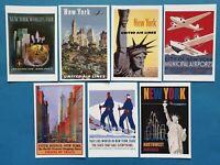 Set of 7 New 1930s Vintage New York Travel Poster Postcards 83L