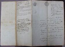 Antique français 6 page Manuscrit, 8 Juin 1823, signé par juge de Paix Ceyzériat