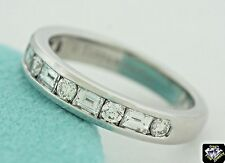 Tiffany Channel-set platinum band ring baguette and round diamonds Size 5