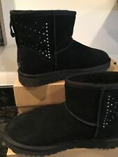 UGG Classic Mini Studded Bling Black Suede Sheepskin Boots Size 8 NEW WITH BOX