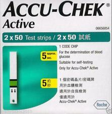 Accu-Chek Active 100 Test Strips, 2*50 Strips, 1 Code Chip - Glucose Strips New