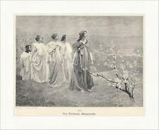 Morgenroth Paul Sinibaldi Bäume Äste Blüten Hügel Frauen Umhang Holzstich A 2207