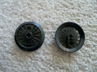 LEGO - 2 Train Wheels, Spoked w/ Technic Axle Hole & Counterweight Flanged - New