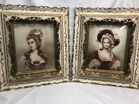 """Pair Gouache Portraits 1700s Women in Ornate Italian Frames, 19th-20th C. 20x17"""""""