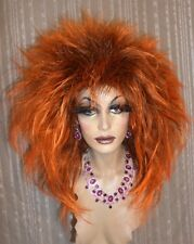 """Drag Queen Wig Big Teased Out """"Brand New Tina Look""""  Dark Rooted Orange"""