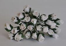 "Mulberry Paper Flower Tiny Rose bud WHITE 1/4"" miniature doll house embellishmnt"
