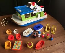 Vintage 1970s Fisher Price Steam Houseboat With People & Accessories