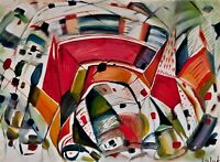 "Original abstract oil painting, signed, by Nalan Laluk: ""Moderna"""