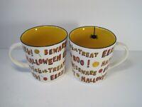 """Starbucks 2007 Halloween """" Beware Trick or Treat Eerie"""" Set Of 2 Coffee Mugs NWT"""