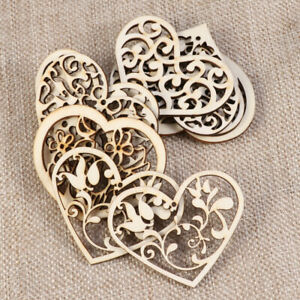 10pcs Hollowed Heart Pattern Slices for DIY Craft Embellishment Decorative Craft