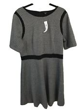 NWT $149 Ann Taylor Plaid Flare Short Sleeve Dress Black White Sz 14 Fitted