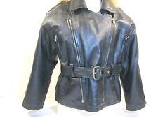 Womens Leather Jacket Black Motorcycle Coat Large