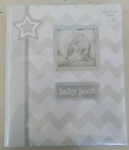 NEW Lil Peach Baby Record Book Baby's First Photo Album Gray ZigZag Boy