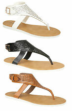 NEW LADIES TOE POST SANDAL CUT OUT DETAIL SUMMER HOLIDAYS CASUAL THREE COLOURS