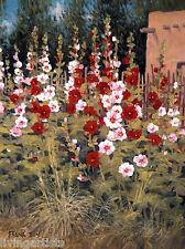 Southwestern GIANT HOLLYHOCKS Floral 18x24 Giclee Art Canvas