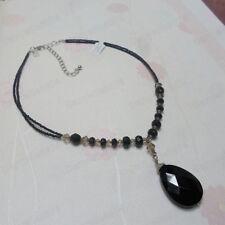 FACETED GLASS BLACK TEAR pendant NECKLACE jet crystal  beads drop teardrop