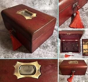 Antique Old English Tooled Leather Locking Jewellery Box Case Nice Project
