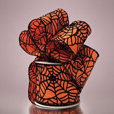 "Paper Mart Wired Floral Ribbon - Halloween Orange Black Spider Web 2 1/2"" 10yd"