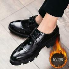Brogues Mens Fur Lined Creepers Lace Up Patent Leather Casual Warm Formal Shoes