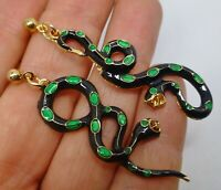 Snake earrings black green enamel  dangle post studs vintage style pierced ears