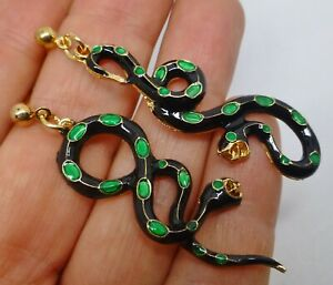 Snake earrings black green enamel  dangle post studs vintage style in gift box