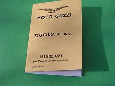 MOTO GUZZI ZIGOLO 98cc, Ital. manuale, manuale di istruzioni 1953