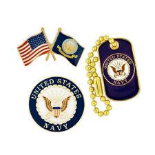PinMart's USN Navy Military Patriotic Dog Tag Enamel Lapel Pin Set