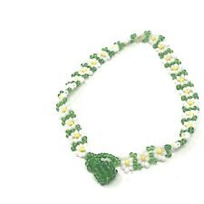 White Beaded Costume Jewelry Vintage Anklet Floral Green