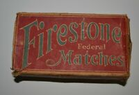 """VINTAGE EMPTY FIRESTONE FEDERAL MATCHES BOX--FEDERAL MATCH CORPORATION 16 CUBIC"""""""
