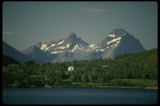219002 Northern Coast With Forests And Snow capped Peak A4 Photo Print
