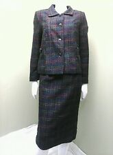 BFA CLASSICS Woman's Multi-Colored Tweed Plaid Skirt Suit~Size 10P