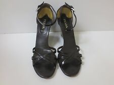 PRADA Black Patent Leather Wedge Sandals Shoes 41 GREAT DEAL