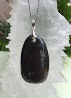 Elite Shungite Pendant Oval W/Chain Protection Anti Radiation Detox Heal Karelia