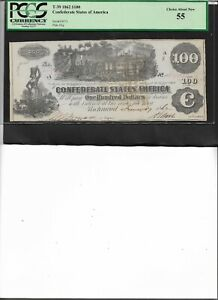 Confederate States of America T-39 1862 $10 Choice About New 55