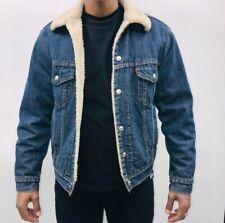 Mens Levis  Denim Sherpa Fur Lined Trucker Jacket Coat XL