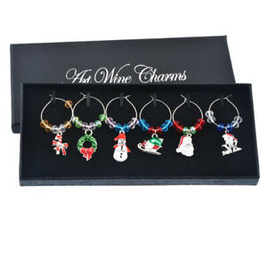 Set of 6 Christmas Wine Glass Charms With Box Xmas Party Table Decor Gift*