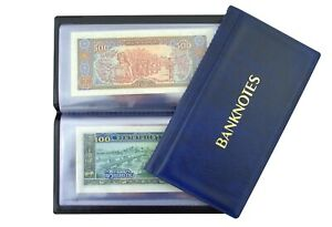 Pocket size Banknote ALBUM with 20 pages 8 x 17 cm Notes Folder Book BLUE