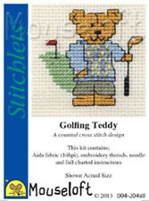 Stitchlets Cross Stitch Kit - Golfing Teddy